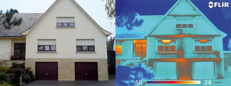 Thermal Imaging of a Home Exterior with an Infrared Camera