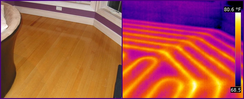 Photos of In Floor Radiant Heating Pipes With Normal and Infrared Cameras